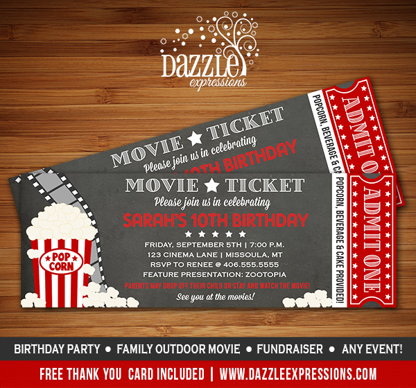 Printable Chalkboard Movie Night Ticket Birthday Invitation - Event