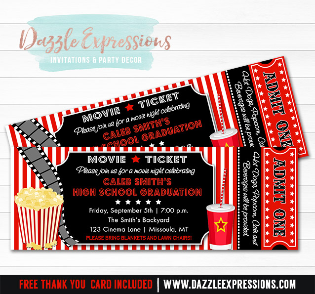 Printable Movie Ticket Graduation Party Invitation - 8th Grade, High - free printable movie ticket invitations