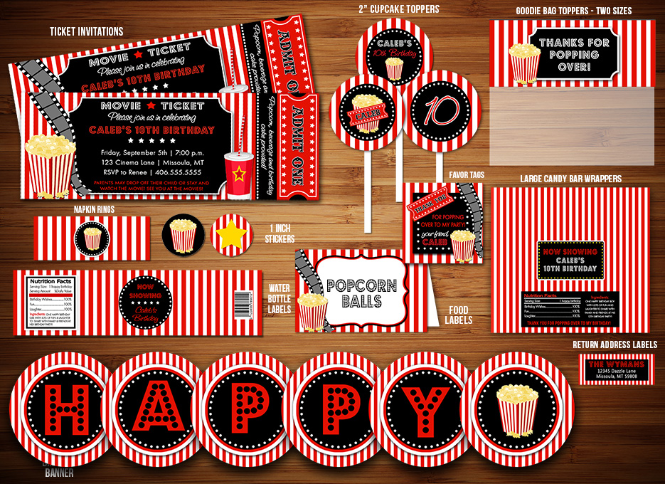 Printable Movie Night Birthday Party Package Decorations - Hollywood