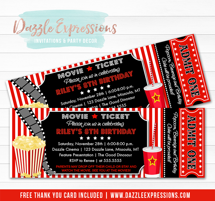 Printable Movie Ticket Birthday Invitation - Movie Night - Movie Event
