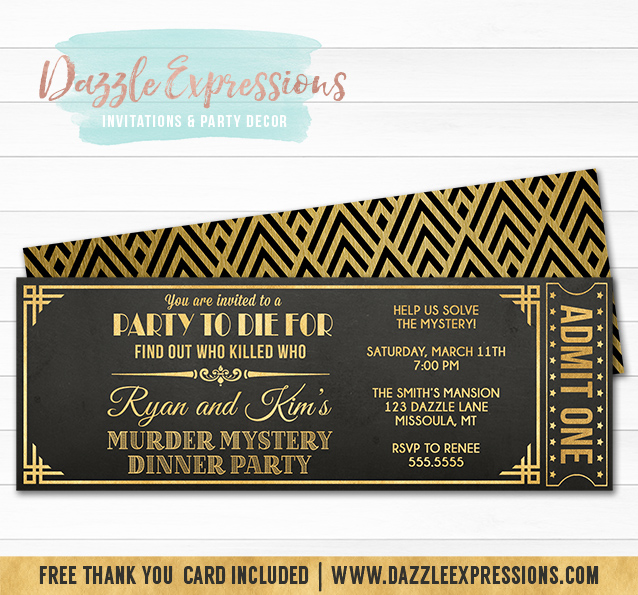 Printable Murder Mystery Dinner Party Ticket Invitation - Black