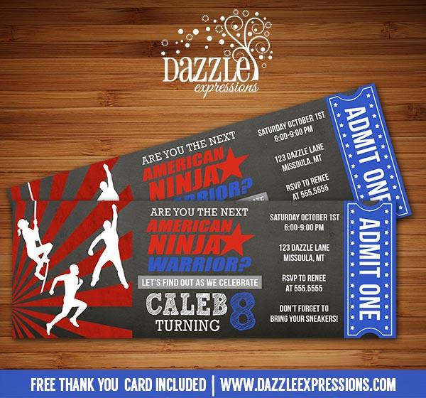 Printable Kids American Ninja Warrior Inspired Chalkboard Ticket - free printable ticket style invitations