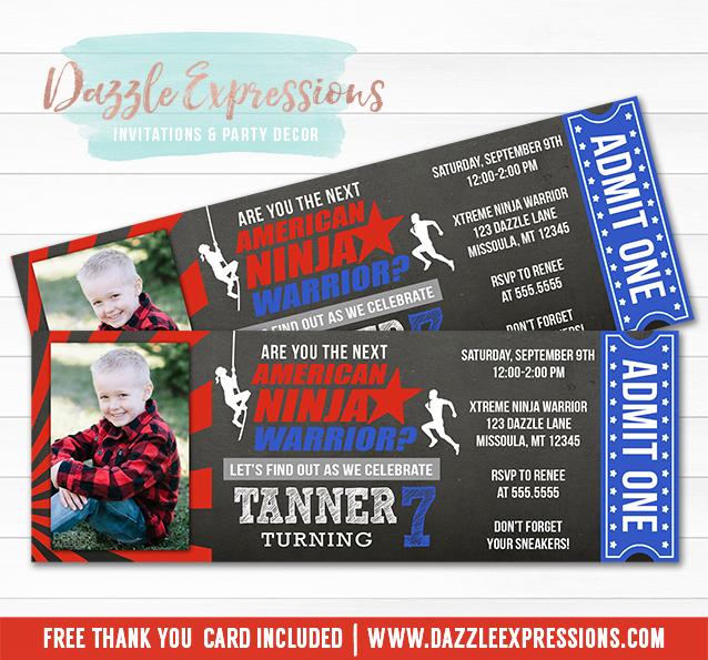 Printable Chalkboard American Ninja Warrior Birthday Ticket Invitation - free printable ticket style invitations
