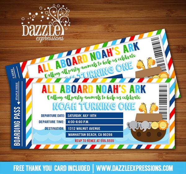 Printable Noahs Ark Ticket Birthday Invitation - Baby Shower - 1st - ticket invitation