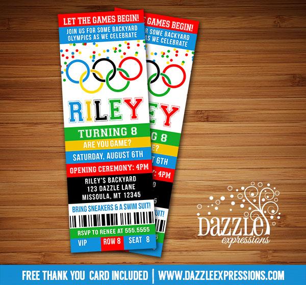 Printable Kids Olympic Games Birthday Invitation - FREE thank you - ticket invitation