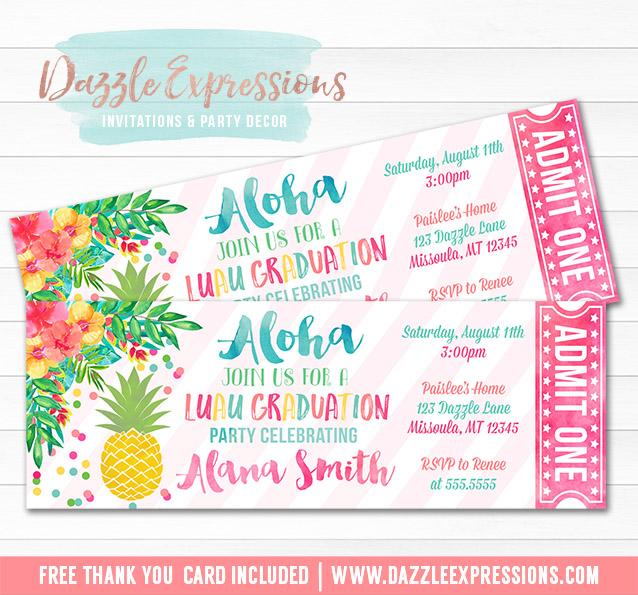 Printable Luau Pineapple Graduation Party Ticket Invitation - printable ticket invitations