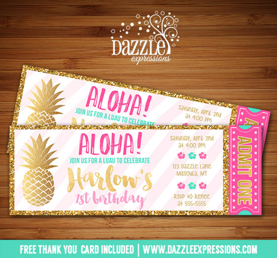 Printable Pink and Gold Pineapple Luau Ticket Birthday Invitation - ticket invitation