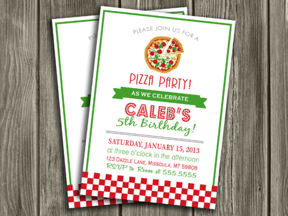 Printable Pizza Party Birthday Invitation - Kids Birthday Party - FREE