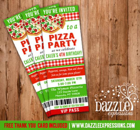 Printable Kids Pizza Party Ticket Birthday Invitation - FREE thank you