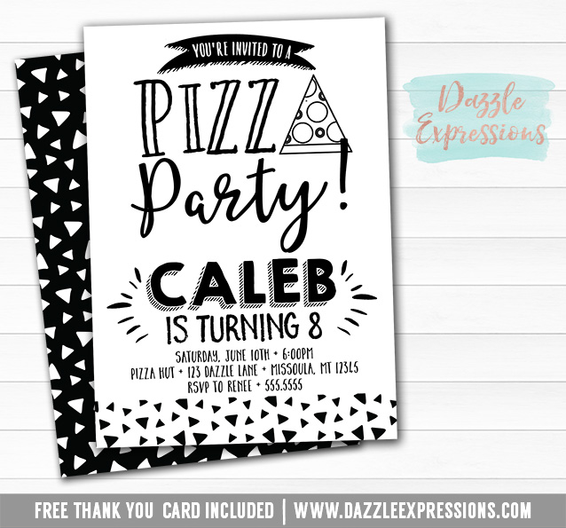 Pizza Party - Black and White Invitation - FREE thank you card and
