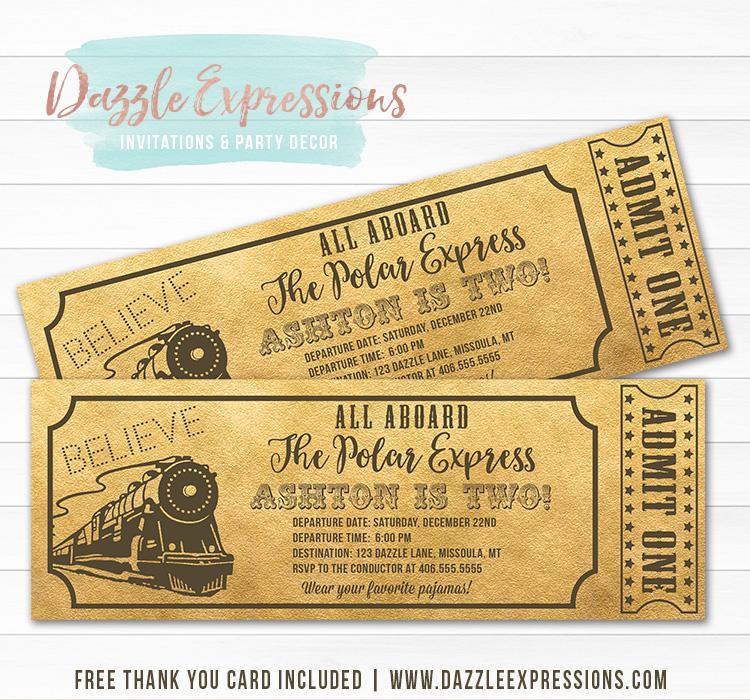 Printable Polar Express Inspired Train Ticket Birthday Invitation