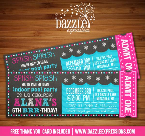 Printable Winter Indoor Pool Party Chalkboard Ticket Birthday - ticket invitation