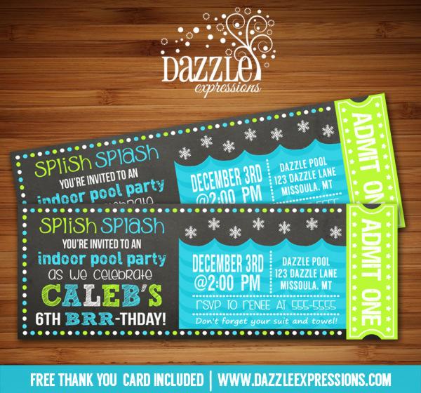 Printable Winter Indoor Pool Party Chalkboard Ticket Birthday