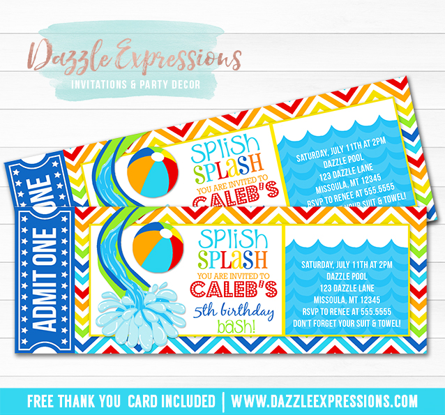 Printable Pool Party Ticket Birthday Invitation - Water Slide - FREE - party ticket invitations