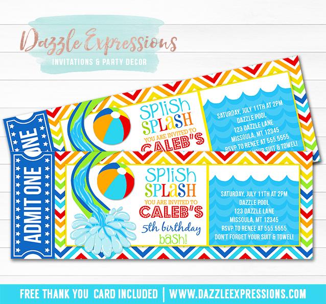 Printable Pool Party Ticket Birthday Invitation - Water Slide - FREE