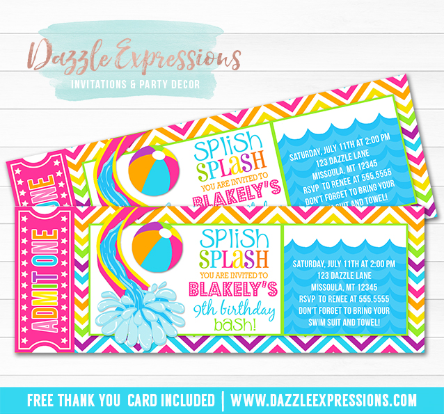 Girl Pool Party Ticket Birthday Invitation - Printable - Thank You - free thank you cards