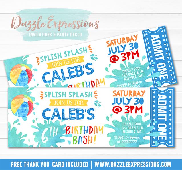 Printable Watercolor Pool Party Ticket Birthday Invitation - ticket invitation