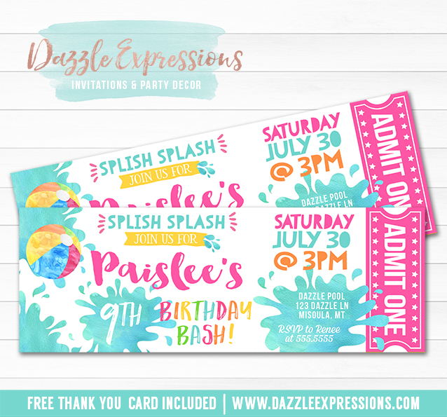 Printable Pool Party Watercolor Ticket Birthday Invitation - Girl - ticket invitation