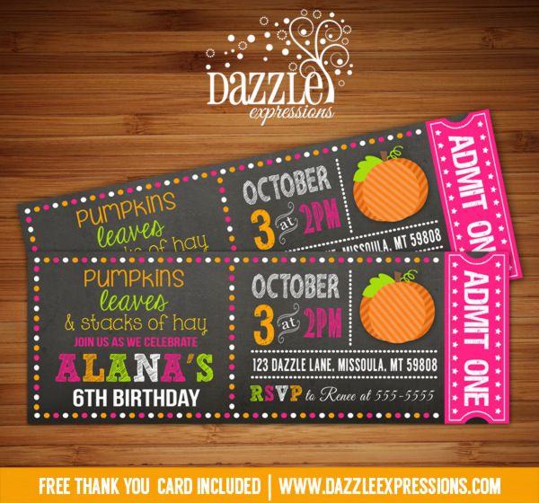 Printable Pumpkin Chalkboard Ticket Birthday Invitation - Girl - ticket invitation