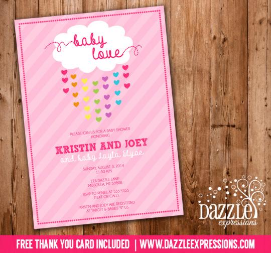 Printable Raining Hearts Baby Shower Invitation - Baby Sprinkle