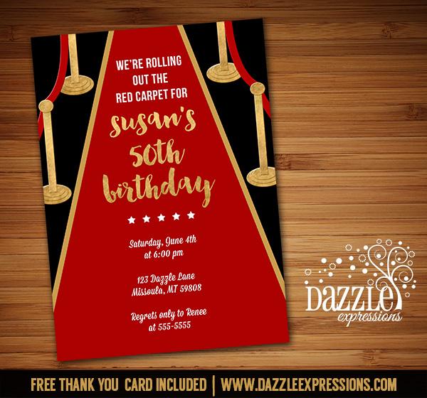 Printable Hollywood Red Carpet Birthday Invitation - Movie Night
