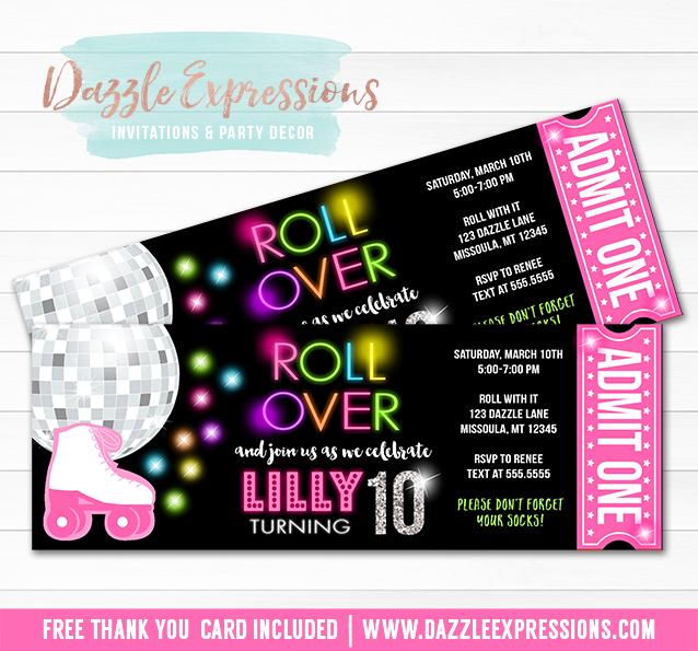 Printable Roller Skating Disco Ticket Birthday Invitation - Neon - ticket invitation