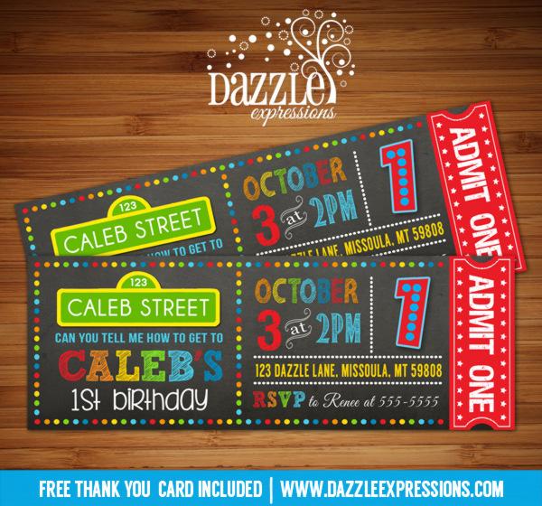 Printable Sesame Street Chalkboard Ticket Birthday Invitation - Kids - free printable ticket style invitations