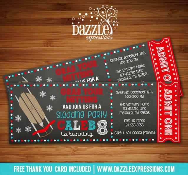 Printable Chalkboard Sledding Ticket Birthday Invitation - Kids