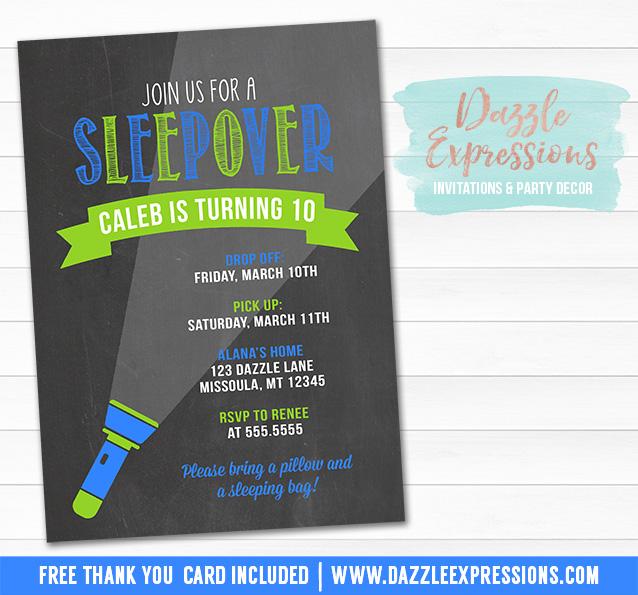 Printable Chalkboard Sleepover Birthday Invitation - Boy Slumber