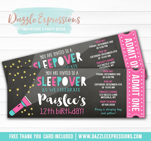 Printable Girl Sleepover Chalkboard Ticket Birthday Invitation - ticket invitation