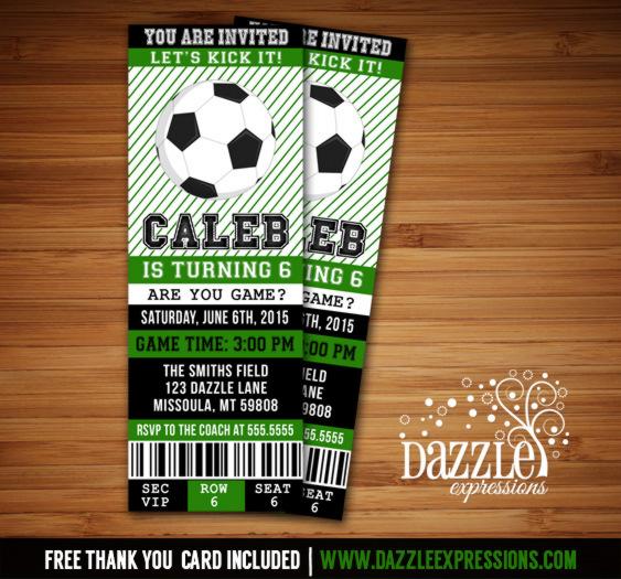 Printable Soccer Birthday Ticket Invitation - Futbol Ticket - Boys - ticket invitation