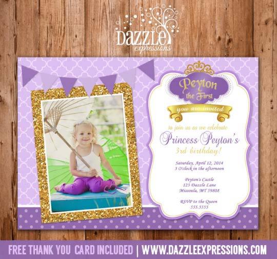 Printable Glitter Princess Sofia the First Inspired Birthday