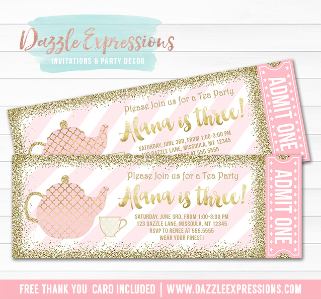 Printable Pink and Gold Tea Party Ticket Birthday Invitation - Alice