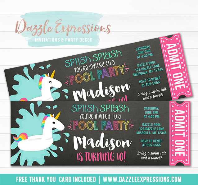 Printable Unicorn Float Pool Party Ticket Invitation - party ticket invitations