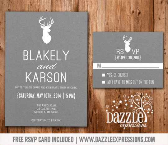 Modern White and Gray Deer Wedding Invitation - RSVP Card included - free printable wedding rsvp cards