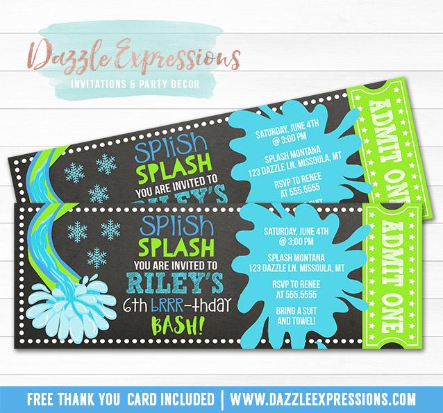 Printable Winter Pool Party Chalkboard Ticket Birthday Invitation