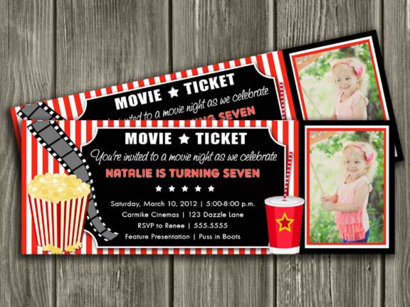 Printable Movie Ticket Birthday Invitation - Movie Night - Movie - free printable movie ticket invitations