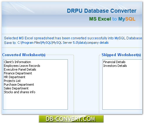 Database converter software freeware download to convert MS Excel
