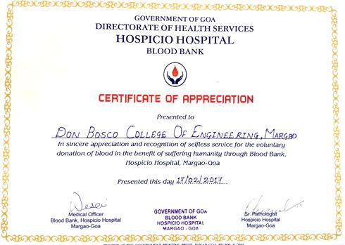 wwwdbcegoaacin \u2013 Report of Blood Donation Camp held on 17th