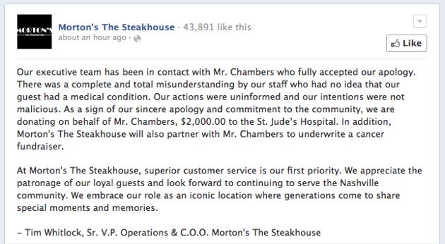 Morton's Steakhouse apologizes 2