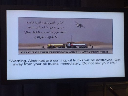 Leaflets dropped by the US air-force before hitting ISIS fuel trucks in Syria