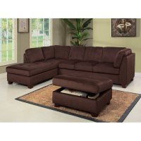 Delano Microsuede Sectional Sofa Chaise with Storage ...