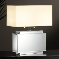 White Table Lamp with Mirror Base   DCG Stores