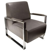 Century Bonded Leather Armchair - Elephant Gray, Stainless ...