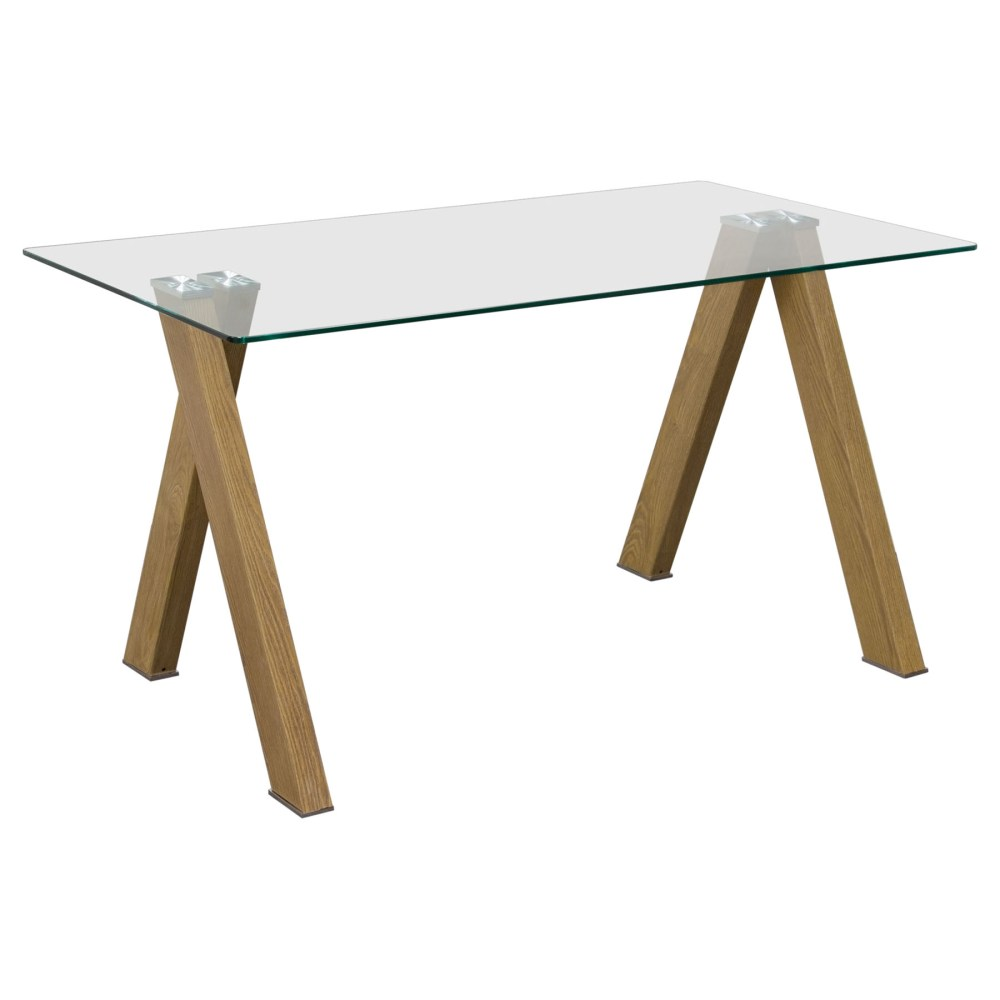 element rectangular dining table glass top