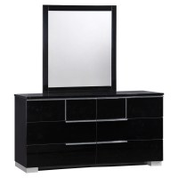 Hailey Bedroom Set in High Gloss Black | DCG Stores