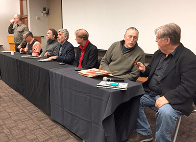 Panel discussion with moderator Richard Gehr, me, Patrick Rosenkranz, Norman Solomon, Bill Plympton, Maurice Isserman, and Matt Groening.