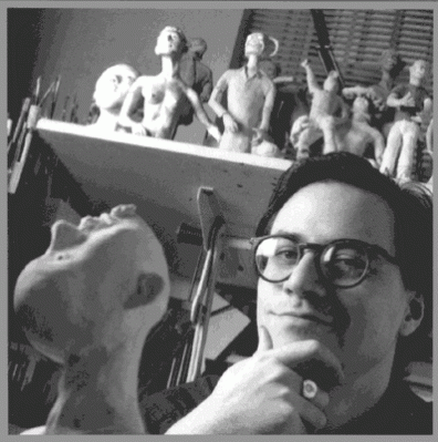 Me with maquettes. photograph by Dan Nelken.