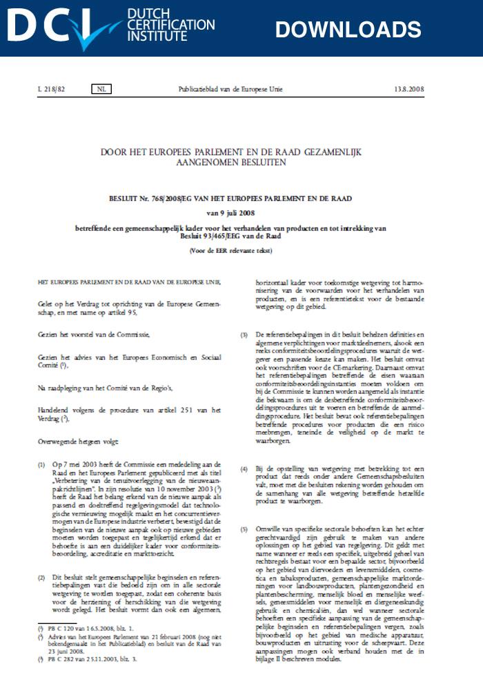 Besluit  – 768/2008/EG