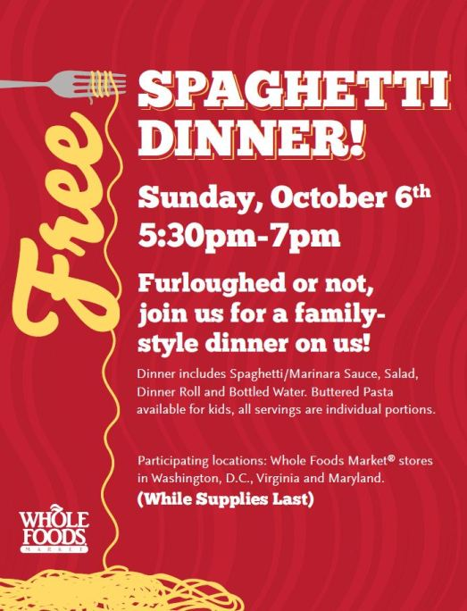 FREE Spaghetti Dinner at Participating Whole Foods Market Locations
